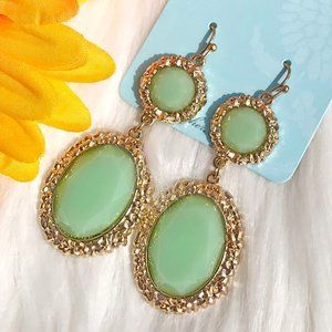 Boho Earrings Lime Green Goldtone Drop Dangles NWT